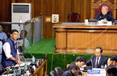 Itanagar: Chief Minister Arunachal Pradesh Pema Khandu speaks during the Assembly session at Naharlagun, Itanagar on Thursday. PTI Photo (PTI9_8_2016_000342B)