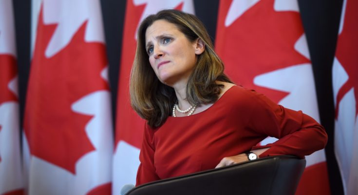 Foreign Affairs Minister Chrystia Freeland discusses modernizing NAFTA at public forum at the University of Ottawa in Ottawa on Monday, Aug. 14, 2017. THE CANADIAN PRESS/Sean Kilpatrick